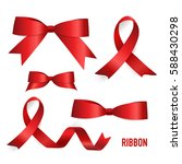shiny red ribbon. vector... | Shutterstock .eps vector #588430298