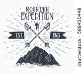 mountain expedition vintage... | Shutterstock .eps vector #588430448