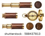 telescope  compass  and old... | Shutterstock . vector #588437813