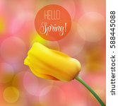 spring is coming tulips flowers ... | Shutterstock .eps vector #588445088