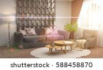 interior with sofa. 3d... | Shutterstock . vector #588458870