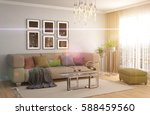 interior with sofa. 3d... | Shutterstock . vector #588459560
