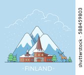 Finland country design template. Linear Flat famous historic sight; cartoon style web site vector illustration. World travel and showplace in Europe, European vacation collection