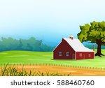Vintage Farm Landscape...