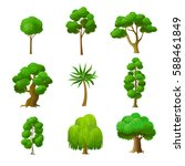flat green trees vector...   Shutterstock .eps vector #588461849
