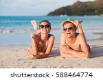 happy young couple lying and... | Shutterstock . vector #588464774