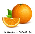 whole ripe oranges and slices.... | Shutterstock .eps vector #588467126