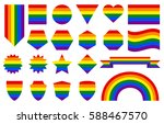 gay pride flag and banners.... | Shutterstock .eps vector #588467570