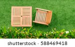 top view wood table and chair... | Shutterstock . vector #588469418