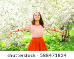 happy pretty smiling young... | Shutterstock . vector #588471824