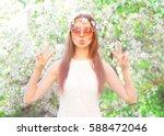 fashion pretty cool hippie girl ... | Shutterstock . vector #588472046