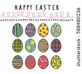 happy easter. easter eggs.... | Shutterstock .eps vector #588480236