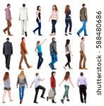 collection back view of walking ... | Shutterstock . vector #588480686