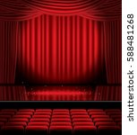 open red curtains with seats... | Shutterstock . vector #588481268