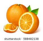 whole ripe oranges and slices.... | Shutterstock .eps vector #588482138