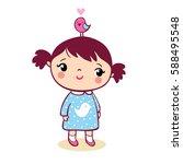 cute girl with bird cute girl... | Shutterstock .eps vector #588495548
