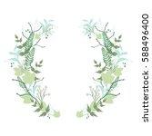 floral round wreath  herb crown.... | Shutterstock .eps vector #588496400