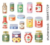 can food tins goods package... | Shutterstock .eps vector #588497729