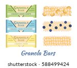 granola bars. caramel with... | Shutterstock .eps vector #588499424