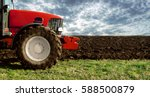 agriculture. tractor on the... | Shutterstock . vector #588500879