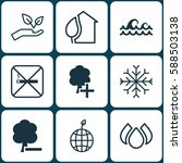 set of 9 eco icons. includes... | Shutterstock .eps vector #588503138
