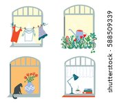 windows and home funny set in... | Shutterstock .eps vector #588509339
