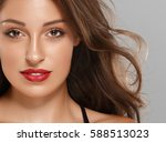 beautiful woman skin tanned red ... | Shutterstock . vector #588513023
