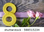 8 march symbol and roses.... | Shutterstock . vector #588515234