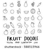 fruit drawing set  doodles... | Shutterstock .eps vector #588515966