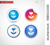 flower icon. button with flower ... | Shutterstock .eps vector #588521030