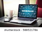 webinar man hand on table... | Shutterstock . vector #588521786