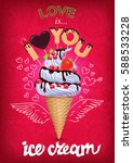 Summer Is Ice Cream Poster Wit...