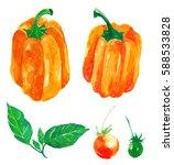 set of paprika and tomato.... | Shutterstock . vector #588533828