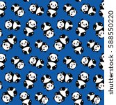 seamless cute cartoon panda... | Shutterstock .eps vector #588550220