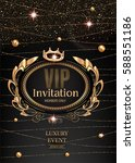 vip invitation card with gold... | Shutterstock .eps vector #588551186
