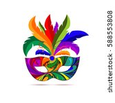 carnival mask with colorful... | Shutterstock . vector #588553808