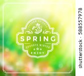 spring badge vector typographic ... | Shutterstock .eps vector #588557978