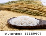 jasmine rice in a spoon and... | Shutterstock . vector #588559979