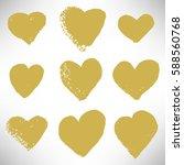 set of cute gold hearts. grunge ... | Shutterstock .eps vector #588560768