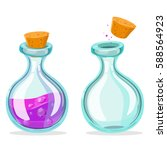 set of cartoon potion bottle.... | Shutterstock .eps vector #588564923