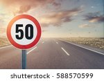 Road sign speed limit on the...