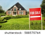 home for sale real estate sign...   Shutterstock . vector #588570764