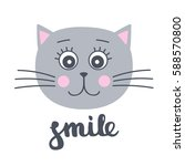 smile. card with cute hand... | Shutterstock .eps vector #588570800
