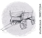 pencil drawing old cart on a... | Shutterstock .eps vector #588572264