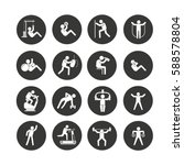 fitness icon set in circle