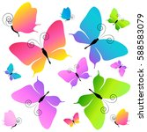 beautiful butterflies  isolated ... | Shutterstock .eps vector #588583079