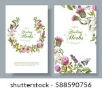 vector vertical wild flowers... | Shutterstock .eps vector #588590756