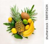 tropical fruits composition ... | Shutterstock . vector #588592634