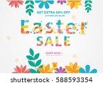 easter sale banner  sale poster ... | Shutterstock .eps vector #588593354