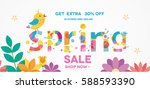 spring sale banner with bird ... | Shutterstock .eps vector #588593390
